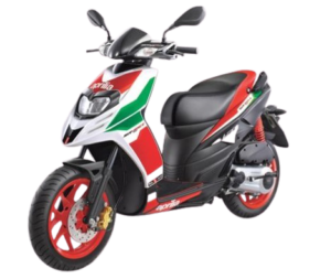White with red and green Aprilia SR 150